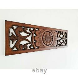 Hand Carved Wooden Decorative Wall Art Lotus Bed Headboard Panel Yoga Gift