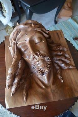 Hand Carved wood Christ Jesus Head sculpture panel religious santo