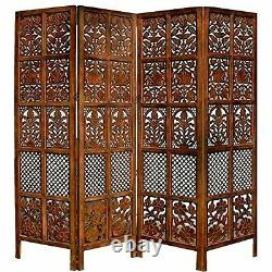 Handcrafted 4 Panel Wooden Room Partition & Room Divider Wooden Screen (Brown)