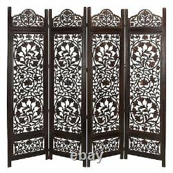 Handcrafted Wooden 4 Panel Room Divider Screen Featuring Lotus Pattern Revers