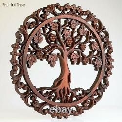 Handmade Carved Wooden Decorative Wall Art Tree of LOVE Panel