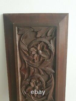Handmade carved Victorian wooden panel