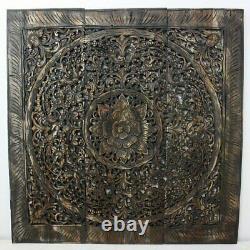 Haussmann Teak Lotus Panel Inlay 36 in x 36 in Black Stain Wax