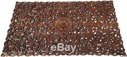 Headboard Asian Floral Tropical Carved Wood Wall Panel. Size 27x48Dark Brown