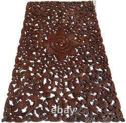 Headboard Balinese Floral Tropical Carved Wood Wall Panel. Size 27x48Dark Brown