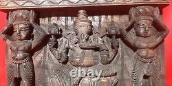 Hindu God Ganapati Ganesha Square Wooden Wall Hanging Panel Vintage Carved Decor