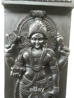 Hindu God Vishnu Wall Wooden Panel Vintage Statue Sculpture Hand Carved Murti
