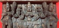 Hindu Goddess Saraswati Devi Tridevi Square Wooden Wall Hanging Panel Carved Art