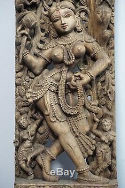 Hindu Relief carved Wood Panel antik antique Goddes Göttin Nepal 1. Z