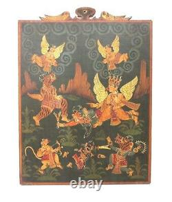 Home Decorative Wooden Panel India Hand Painted Tantric Vintage Old Tantra Art