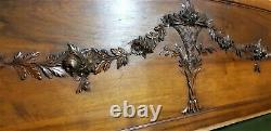 Huge ribbon garland flower carving panel Antique french architectural salvage