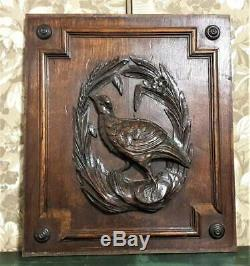 Hunting trophy wood carving panel Antique french flower architectural salvage