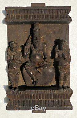 INDIA Old carved wood temple panel