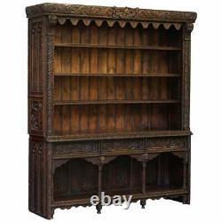 Important Gothic Revival Using 17th Century Panels Bookcase Dresser Cherubs