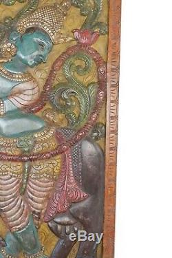 Indian Carved WOOD BARNDOOR Vintage COLORFUL Fluting Krishna Wall Panel ART 72