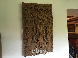 Indonesian Wood Carving Panel 49cm x 29cm
