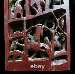 Intricate Vintage Chinese Warriors Gold Gilt Wood Carved Temple Wall Panel