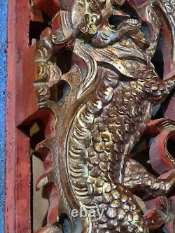 Intricately Carved Chinese Gold Gilt Lacquer Dragon & Flowers Panel Wall Plaque