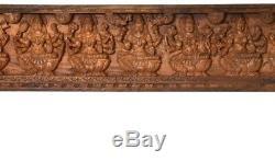 Ji Lakshmi Panel God Hindu Wood Carved Statue 15H India Temple Craft Art 15.7KG