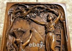 Lady grape harvest vine scene carving panel Antique french architectural salvage