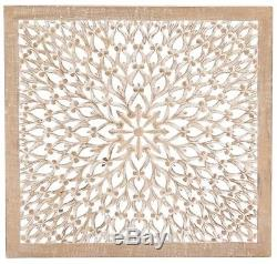Large 3-D Wall Art Sculpture Panel Carved Wood Floral Detail, Distressed Brown