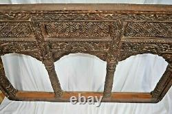 Large Antique 19th Century Indian Carved Wood WindowithBalcony Panel, c1850