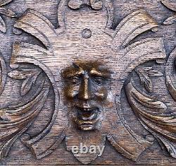 Large Antique Solid Oak Carved Wood Panel Carvings Framed 1890 14.5 X 11