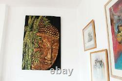Large Buddha 3D Wooden Hand Carved Wall Art Plaque Hanging 4 Wood Picture Panels
