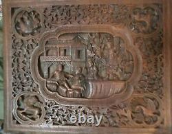 Large Burmese Hardwood Panel Carved in Relief (Teakwood)