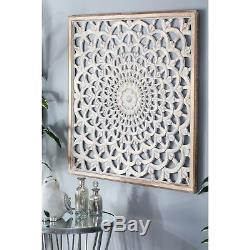 Large Carved Wood Wall Art Sculpture Panel Floral Detail Distressed Finish
