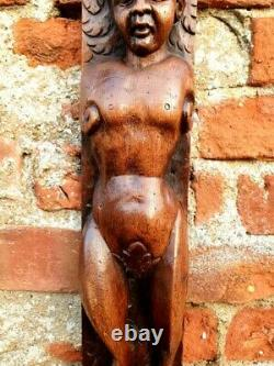 Large Elongated 17th Century Carved Oak Panel Depicting a Faunus Wood Carving