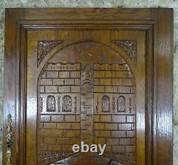 Large French Antique Architectural Carved Solid Oak Wood Door Panel Gondola