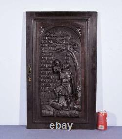 Large French Antique Deeply Carved Architectural Panel Door Solid Oak Romantic