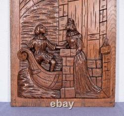 Large French Antique Deeply Carved Panel Solid Oak with Man and Woman