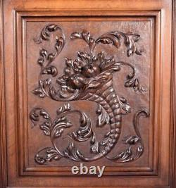 Large French Antique Framed Carved Architectural Panel Door Solid Walnut Wood