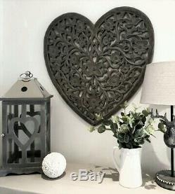 Large Grey Ornate Wooden Hand Carved Heart Wall Art Panel by Retreat 60cm x 60cm