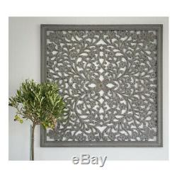 Large Hand Carved Grey Ornate Mango Wood Art Square Wall Panel Decoration
