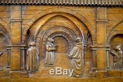 Large Hand Carved Wood Wall Panel of a Monastery Monk Carving