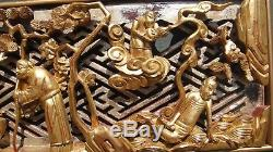 Large Rare Antique 19th Century Chinese Qing Dynasty Statue Wood Panel Carving