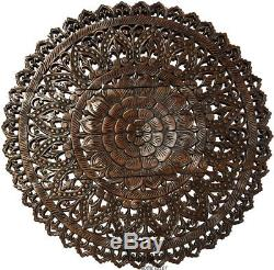 Large Round Carved Wood Floral Wall Art Panel. Tropical Home Decor Asian Inspired