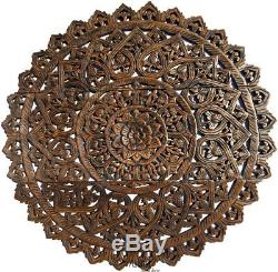 Large Round Carved Wood Floral Wall Plaque. Asian Home Decor Wood Wall Panels. 3