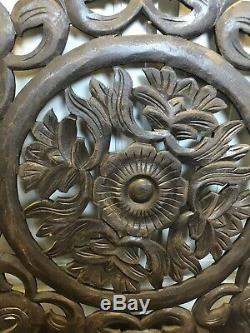 Large Round Wood Carved Floral Wall Art Home Decor Panel Bali Indonesia