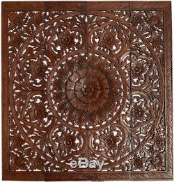 Large Square Wood Carved Fig Leaf Lotus Wall Art Panel. Asian Home Decor. 48