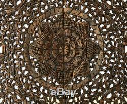 Large Square Wood Carved Floral Wall Art Panel. Tropical Home Decor wood Wall. 48
