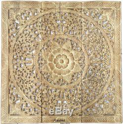 Large Wood Carved Floral Wall Art Panels. Asian Wood Wall Decor. White Wash, 36