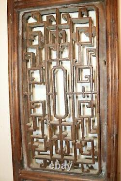 Large antique 18th century hand carved Chinese wooden wall panel sculpture art