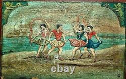 Late 1700's Greek Regional Painting on Old Growth Hardwood Panel with Carving