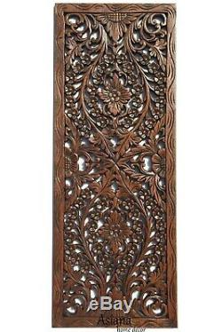 Leaf Floral Wood Wall Art. Carved Wood Wall Decor Panel. 35.5x13.5
