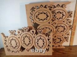 Lot of 3 unfinished natural Oak Wood Carved Wall Decor Panels Scroll Art 16x10x1