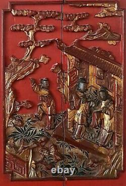 Lovely Pair of Antique Chinese Laquer Gilt Wood Panel Wall Hang DisplayQING